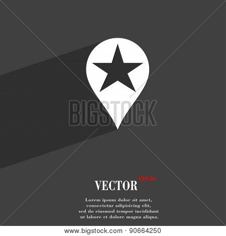Map Pointer Award, Gps Location Icon Symbol Flat Modern Web Design With Long Shadow And Space For Yo