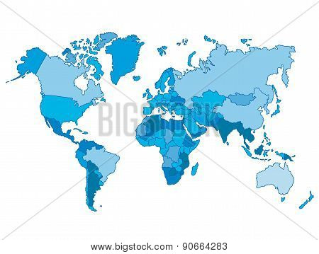 Political world blue map and vector illustration