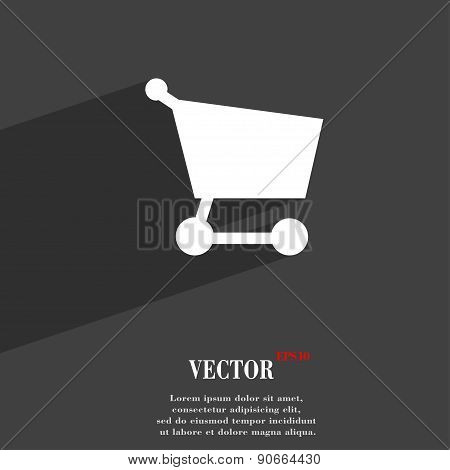 Shopping Basket Icon Symbol Flat Modern Web Design With Long Shadow And Space For Your Text. Vector