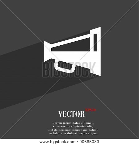 Megaphone Soon, Loudspeaker Icon Symbol Flat Modern Web Design With Long Shadow And Space For Your T