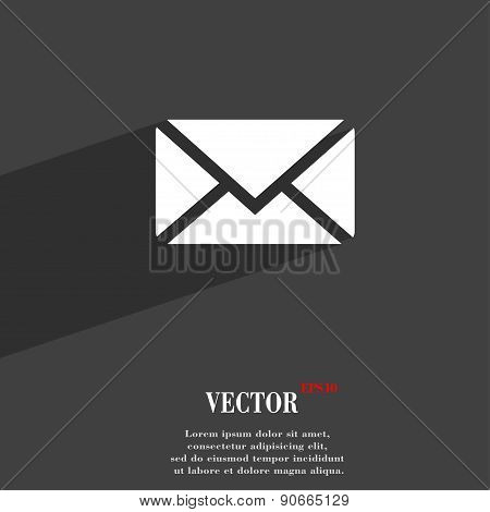 Mail, Envelope, Message Icon Symbol Flat Modern Web Design With Long Shadow And Space For Your Text.