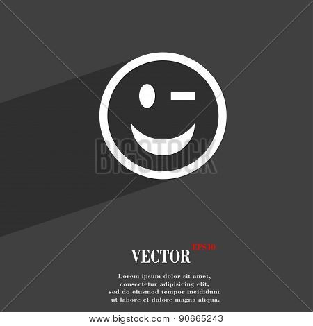 Winking Face Icon Symbol Flat Modern Web Design With Long Shadow And Space For Your Text. Vector