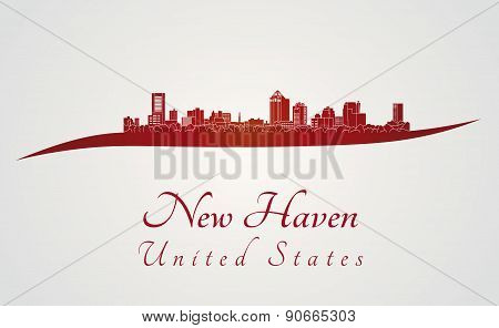 New Haven Skyline In Red