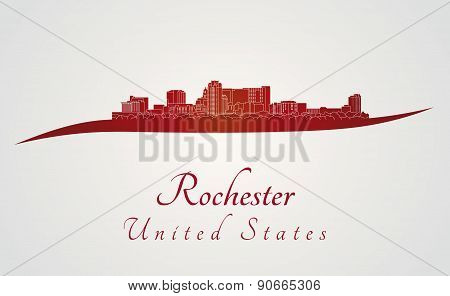 Rochester Mn Skyline In Red
