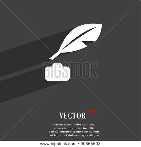 Feather, Retro Pen Icon Symbol Flat Modern Web Design With Long Shadow And Space For Your Text. Vect