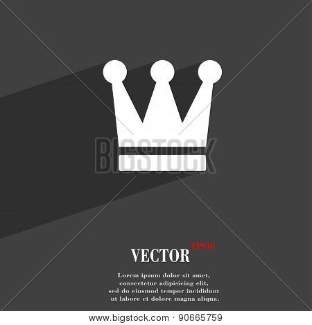 King, Crown Icon Symbol Flat Modern Web Design With Long Shadow And Space For Your Text. Vector