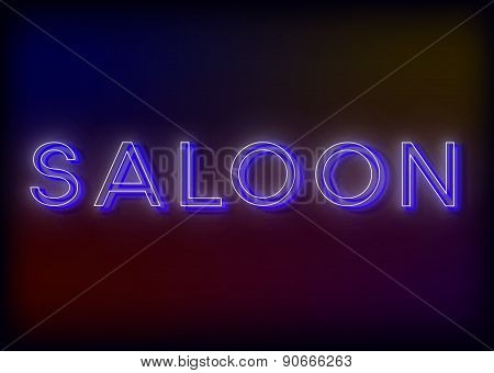 Neon Saloon .Saloon neon sign, design for your business. Bright attracts the attention of a luminous