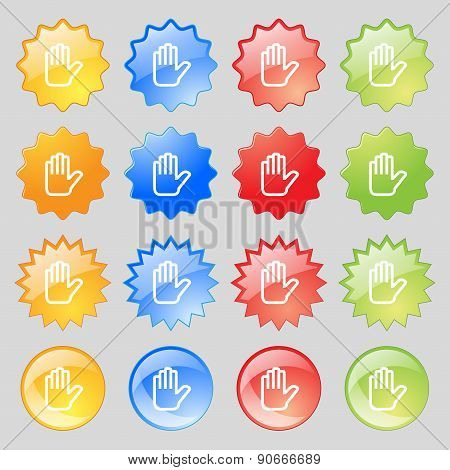 Hand Print, Stop Icon Sign. Big Set Of 16 Colorful Modern Buttons For Your Design. Vector