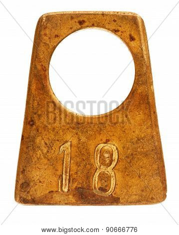 Ancient Brass Cloakroom Label With Number 18