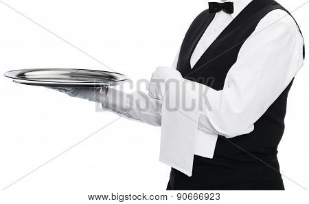 Waiter on white background