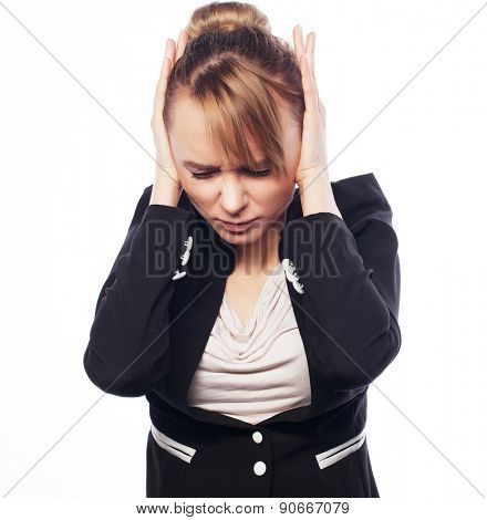 Concept of worried, shock, fear. Businesswoman terrified hold hand on head. Isolated over white background
