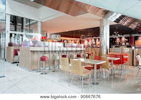 DUBAI, UAE - MARCH 10, 2015: BK restaurant interior. Burger King, often abbreviated as BK, is a global chain of hamburger fast food restaurants