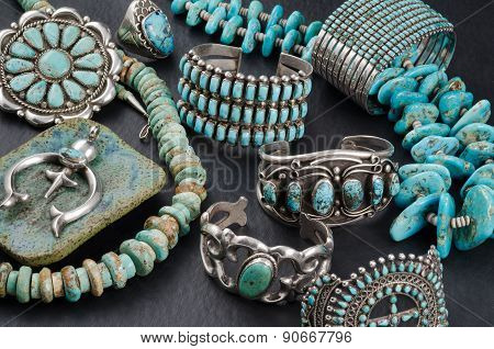 Collection of Turquoise and Silver Jewelry.