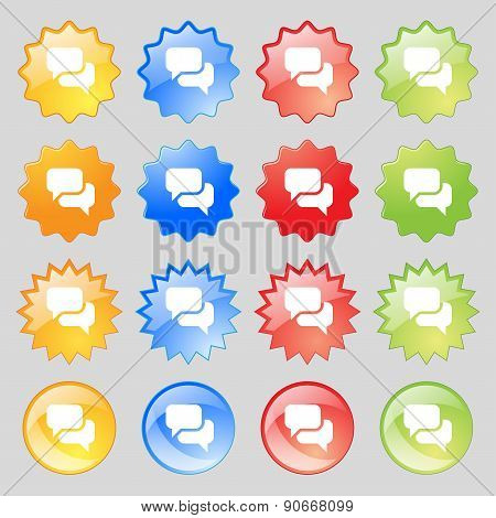 Speech Bubble, Think Cloud Icon Sign. Big Set Of 16 Colorful Modern Buttons For Your Design. Vector