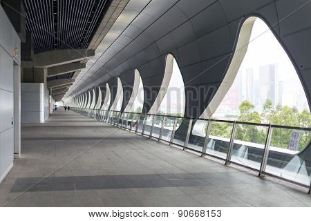 The long corridor at Kai Tak Cruise Terminal in Hong Kong