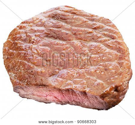 Beef steak isolated on a white background. File contains clipping paths.