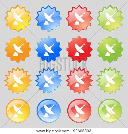 Satellite Dish Icon Sign. Big Set Of 16 Colorful Modern Buttons For Your Design. Vector