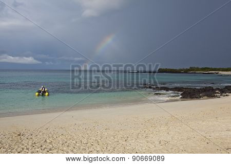 Rainbow At Las Bachas Beach