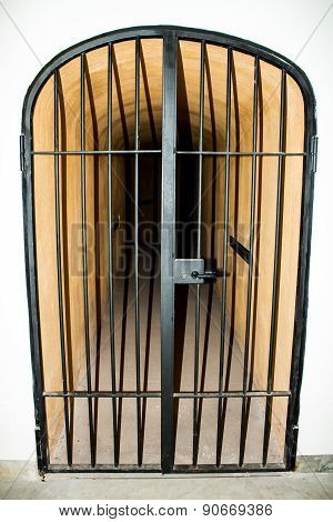 Metal Door With Bars In A Prison
