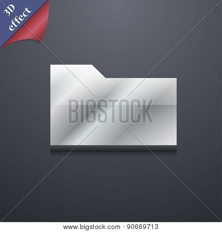 Document Folder Icon Symbol. 3D Style. Trendy, Modern Design With Space For Your Text Vector