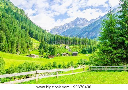 Alpine landscape and green meadows Alps, Austria