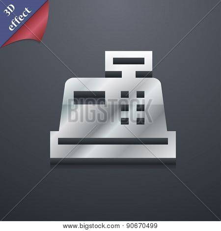 Cash Register Icon Symbol. 3D Style. Trendy, Modern Design With Space For Your Text Vector