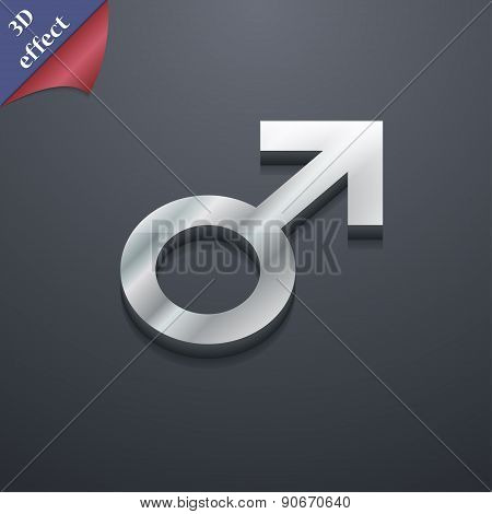 Male Sex Icon Symbol. 3D Style. Trendy, Modern Design With Space For Your Text Vector