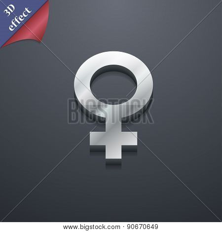 Symbols Gender, Female, Woman Sex Icon Symbol. 3D Style. Trendy, Modern Design With Space For Your T