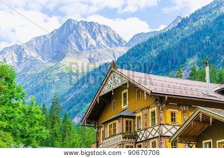 Wooden cottagea nd Alps, Zillertal, Austria