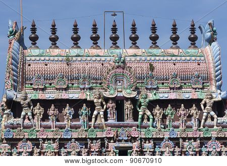 The Kumbam On Top Of The Kumbeswarar Temple Gopuram.
