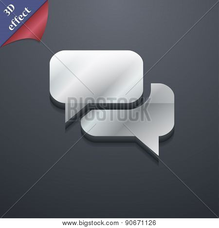 Speech Bubble, Think Cloud Icon Symbol. 3D Style. Trendy, Modern Design With Space For Your Text Vec