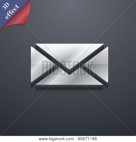 Mail, Envelope, Message Icon Symbol. 3D Style. Trendy, Modern Design With Space For Your Text Vector