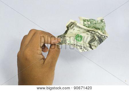 very wrinkled dollars in hand