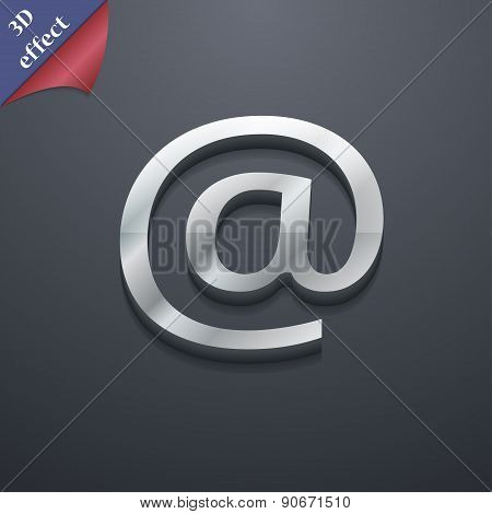 E-mail Icon Symbol. 3D Style. Trendy, Modern Design With Space For Your Text Vector