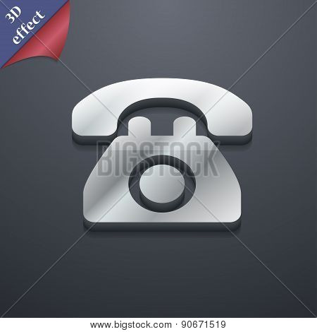 Retro Telephone Icon Symbol. 3D Style. Trendy, Modern Design With Space For Your Text Vector
