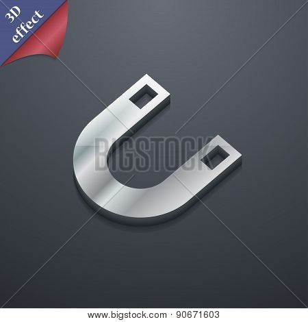 Magnet, Horseshoe Icon Symbol. 3D Style. Trendy, Modern Design With Space For Your Text Vector