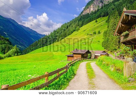 Country road to the alpine houses in Alps, Austria