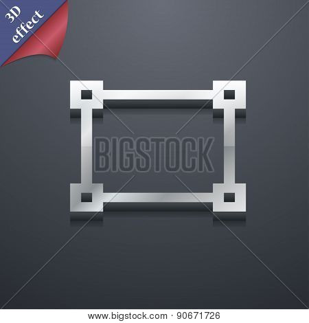 Crops And Registration Marks Icon Symbol. 3D Style. Trendy, Modern Design With Space For Your Text V