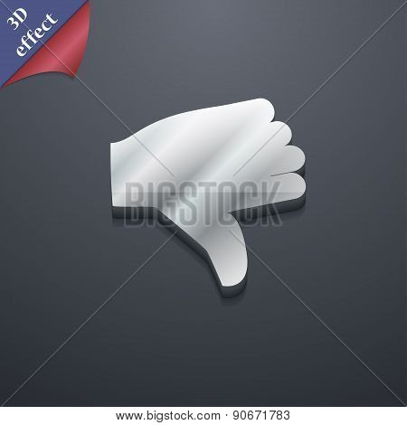 Dislike, Thumb Down Icon Symbol. 3D Style. Trendy, Modern Design With Space For Your Text Vector