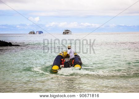 Inflatable Boat In Galapagos