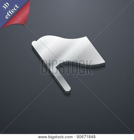 Finish, Start Flag Icon Symbol. 3D Style. Trendy, Modern Design With Space For Your Text Vector