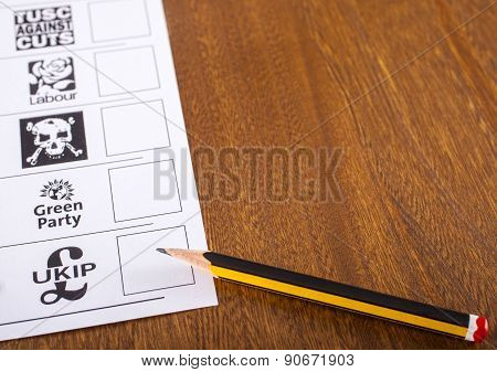 A Ballot Paper For The British General Election