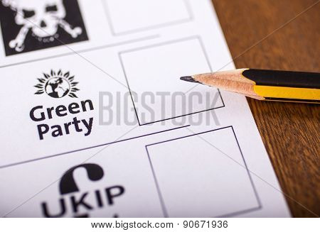 The Green Party On A Ballot Paper