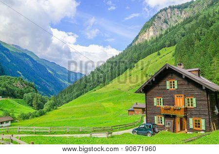 Alpine house and green meadows, Austria