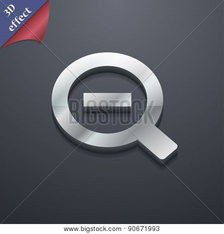 Magnifier Glass, Zoom Tool Icon Symbol. 3D Style. Trendy, Modern Design With Space For Your Text Vec