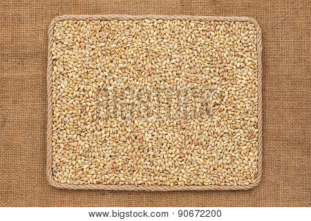 Frame Made Of Rope With  Pearl Barley  Grains On Sackcloth