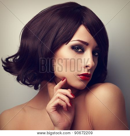 Beautiful Makeup Woman With Black Hairstyle And Red Lipstick