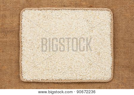 Frame Made Of Rope With Rice Grains On Sackcloth
