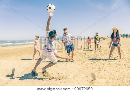 Football Match On The Beach