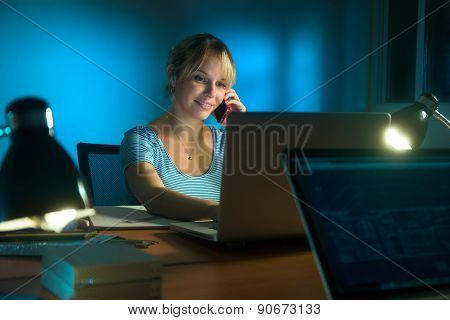 Woman Interior Designer Mobile Phone Working Late At Night